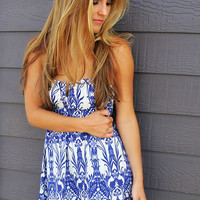 Out Of Your League Blue & White Floral Print Deep V Tube Dress