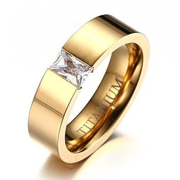 Shqipe Jewelry 6mm Womens Titanium Wedding Band Ring 18k Gold Plated with Cubic Zirconia CZ