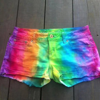 CUSTOM Tie dye Rainbow Shorts