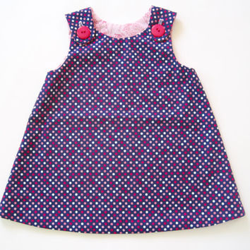 Navy and Pink Reversible A-line Baby Dress: Size 6-12 months