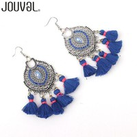 Boho Tassel Earrings Vintage Bohemian Women Fringe Drop Earrings Rhinestone Brincos 4 Colors Statement Jewelry Gift 2017