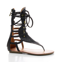 Avis2 Black Pu by Liliana, Black PU Strappy Mid Calf Gladiator Flat Thong Sandals