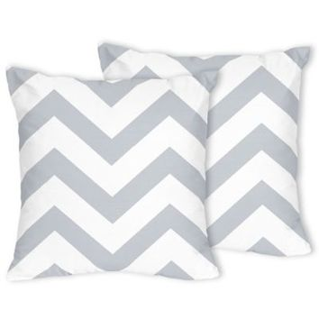 Sweet Jojo Designs Chevron Throw Pillows in Grey and White (Set of 2)