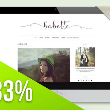 "Simple Wordpress Theme Blog Design - ""Babette"" 