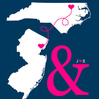 Two States, Two Hearts Connecting - 8x10 Personalized Art Print, Ampersand Wedding Gift, And Symbol, Modern, Pink and Navy, You Customize it