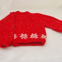 Handknitted Baby Cardigan, Red and White Cardigan, Snowflakes Cardigan, UK Seller