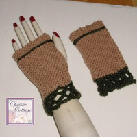 Fingerless Gloves - Hand Knit with Crochted Lace  Tan - Green