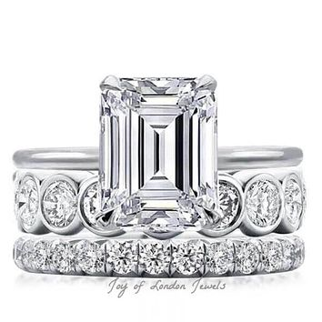 A Bespoke Collection 2.5CT Emerald Cut Russian Lab Diamond Stacking Bridal Set