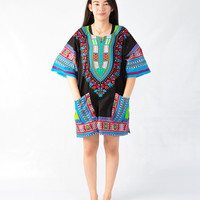 Dashiki Shirt African dress Tribal Festival Kaftan Style Boho Hippie Shirt Dress Adults Vintage Handmade Colorful Bohemian