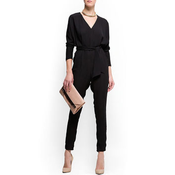 Black V-Neck Solid Chiffon Jumpsuit