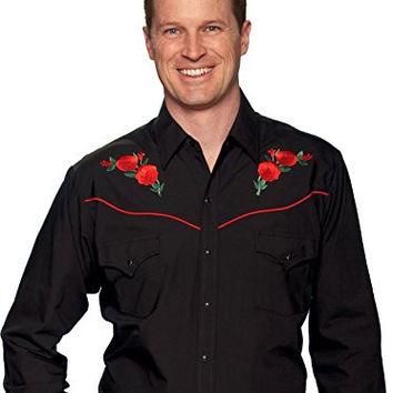 Ely Cattleman Men's Embroidered Rose Design Western Shirt Black X-Large