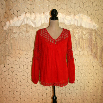 Red Boho Top Lace Peasant Blouse Long Sleeve Burnout Hippie Top Oversized Top Red Blouse Hippie Clothing Calvin Klein Small Womens Clothing