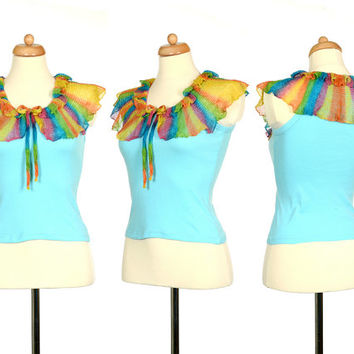 Rainbow Crochet Top - Upcycled Light Blue Tank Top With Rainbow Ruffle Collar - Eco Friendly Clothing