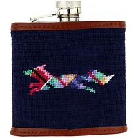 Limited Edition Longshanks Needlepoint Flask in Blue by Smathers & Branson