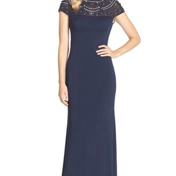 Women's JS Collections Embellished Illusion Yoke Gown,