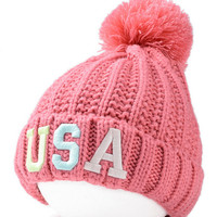 Pink Neon Letter Embroidery Ball Top Knit Beanie Hat