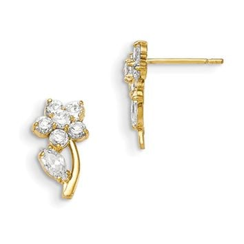14kt Yellow Gold CZ Sparkling Petal Girls Stud Earrings