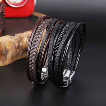 ZGNew Punk Braid Leather Bracelet for Men Black and silver Clasp Wristband Male Jewelry Vintage Fashion Best Gifts