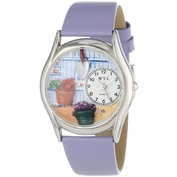 SheilaShrubs.com: Women's Gardening Lavender Leather Watch S-1211001 by Whimsical Watches: Watches