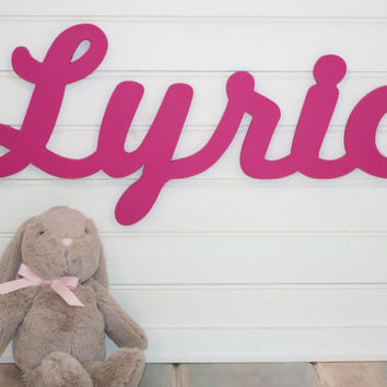 wooden name sign HOT PINK Name Plaque Large PAINTED photo prop Personalized baby name wall hanging nursery decor wall art  above a crib