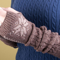 Fingerless Knit Gloves Fair Isle with Sparkles Women's Accessories Arm Warmers