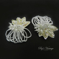 Sequin Cluster Leaf Flower Dangle Earrings, Iridescent & White Pearl Bead Clip On Earrings