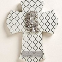 "Roman White ""Quilt-look"" 1st Communion Wall Cross"