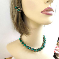 Mid-Century Green Rhinestone Necklace & Earrings Set Vintage 1950's