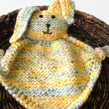 Stuffed Bunny Blanket - Knit Teething Toy, Baby Security Blanket Yellow and Blue Buddy Blanket