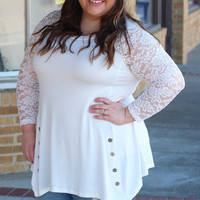 Innocence Lace Sleeve Tunic in White {Curvy}