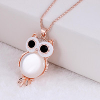 Crystal Owl Necklace Gold Tone