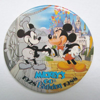 "Vintage Disney Mickey Mouse 60th Birthday Anniversary 1928 1988 Pinback Button 3"" Classic Steamboat Magic Kingdom"