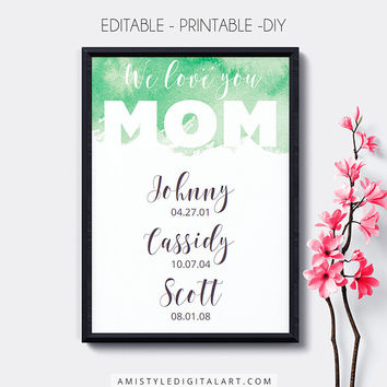 Special Date Wall Art,Printable,Green,Mother's Day, Editable,Birth Dates,Dates to Remember,Digital Download,Wall Art,Home Decor,Nursery Art