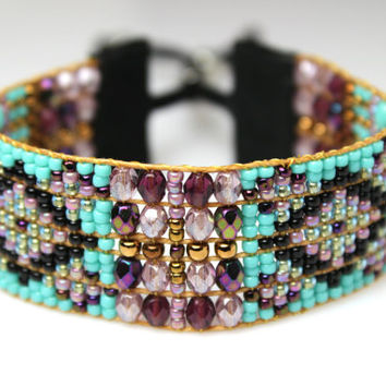 Beaded Boho Bracelet in Purple, Turquoise and Black Diamond Geometric Design - Loomed Statement Jewelry