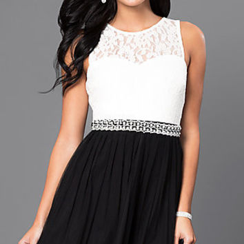 Short Lace Bodice Black and White Party Dress