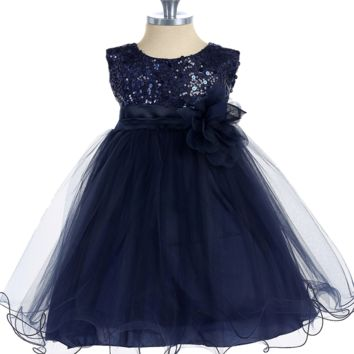 Navy Blue Sequin Party Dress with Lettuce Hem Tulle Skirt Baby Girls 3M-24M