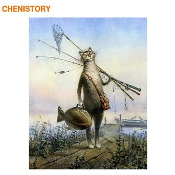 CHENISTORY Cat And Fish DIY Painting By Numbers Abstract Picture Modern Wall Art Hand Painted Oil Painting For Home Decoration