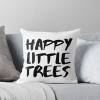 'Bob Ross Happy Little Tree' Throw Pillow by whimsicalmuse