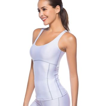 2018 New Women Sleeveless Tops High Elastic Workout Bodybuilding Vest Female Fitness Quick-Drying Sporting Tank Top