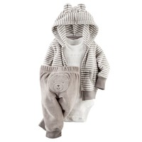 Carter's Stripe Bear Terry Hooded Cardigan Set - Baby Boy, Size: