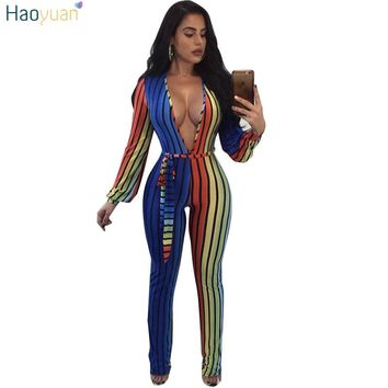 HAOYUAN S-3XL Plus Size Striped Jumpsuit Elegant Long Sleeve Deep V Neck Casual Full Bodysuit Overalls Rompers Womens Jumpsuit