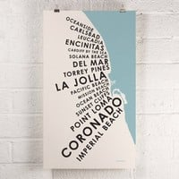 San Diego Beach Towns - Screen Print by Orange & Park | Vitrine