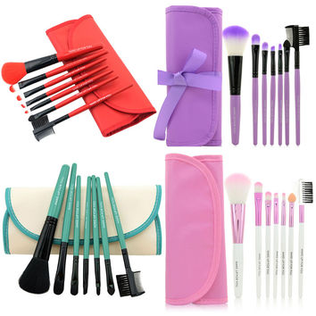 Professional 7 pcs Makeup Brush Set Tools Foundation Make-up Toiletry Kit Wool Brand Make Up Blush Brush Set Case Pink M01935