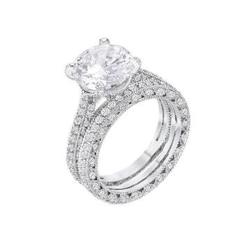 Isabella - Women's 5.32 CT Vintage Rhodium Plated CZ Ring Set