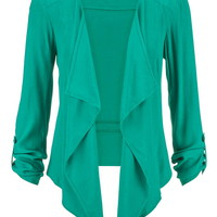 blazer with drape front and roll tab sleeves