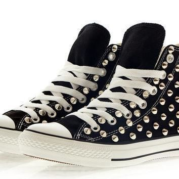 studded converse silver studs with converse black high top by customduo on etsy