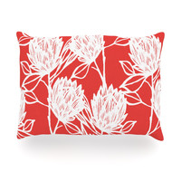"Gill Eggleston ""Protea Strawberry White"" Red Flowers Oblong Pillow"