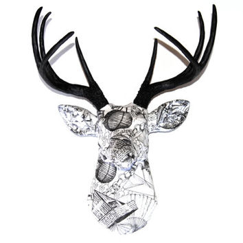 FAUX TAXIDERMY - Black and White Fabric Deer - Faux Taxidermy Deer Head Wall Mount - Paper Theme