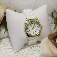 White Jelly chain band watch, fashion watch, fun, cute, large face watch, watches  | W22