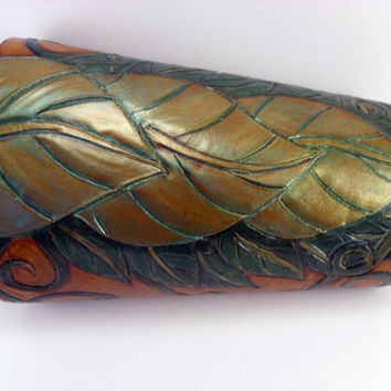 Leafy Bracer with vines and background tooling. Elf armor, ren faire costume, LARP bracer, Druid Armguard